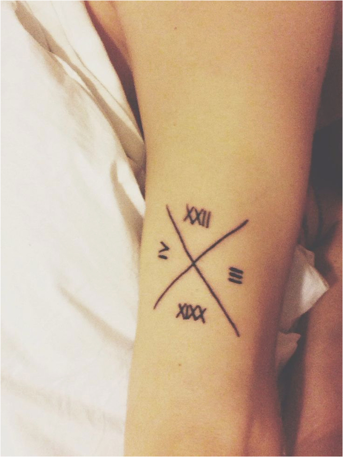 crossed lines, roman numbers tattoo, inside the arm, white background
