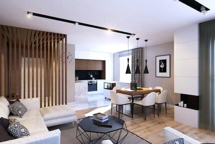 couches for small living rooms, black metal coffee table, white corner sofa, wooden room divider