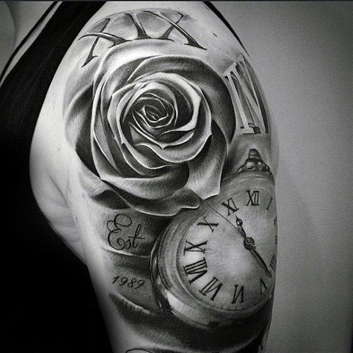roses and a pocket watch, shoulder tattoo, roman numeral date tattoo, black top, white background, roses with roman numerals
