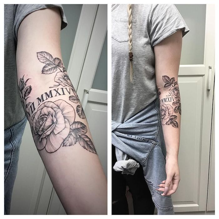 back of arm, forearm roses tattoo, roman numeral tattoos on arm, grey blouse, blonde braid