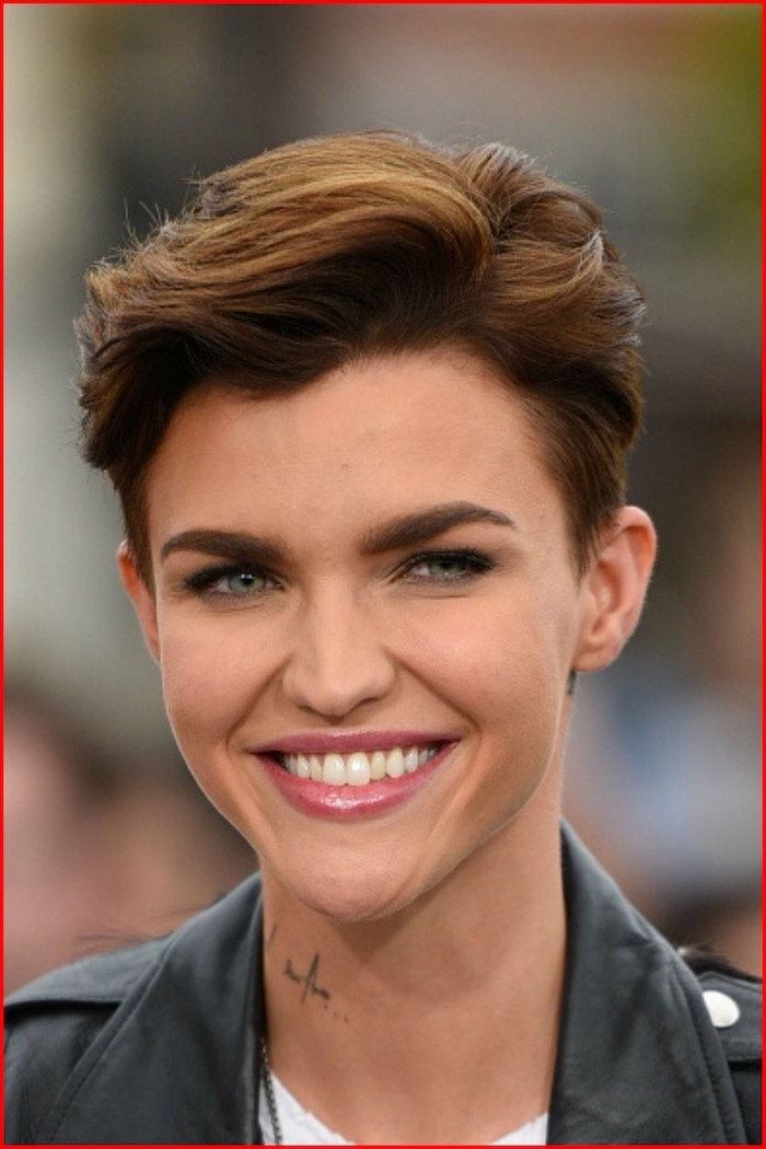 ruby rose, black leather jacket, celebrities with short hair, brown hair
