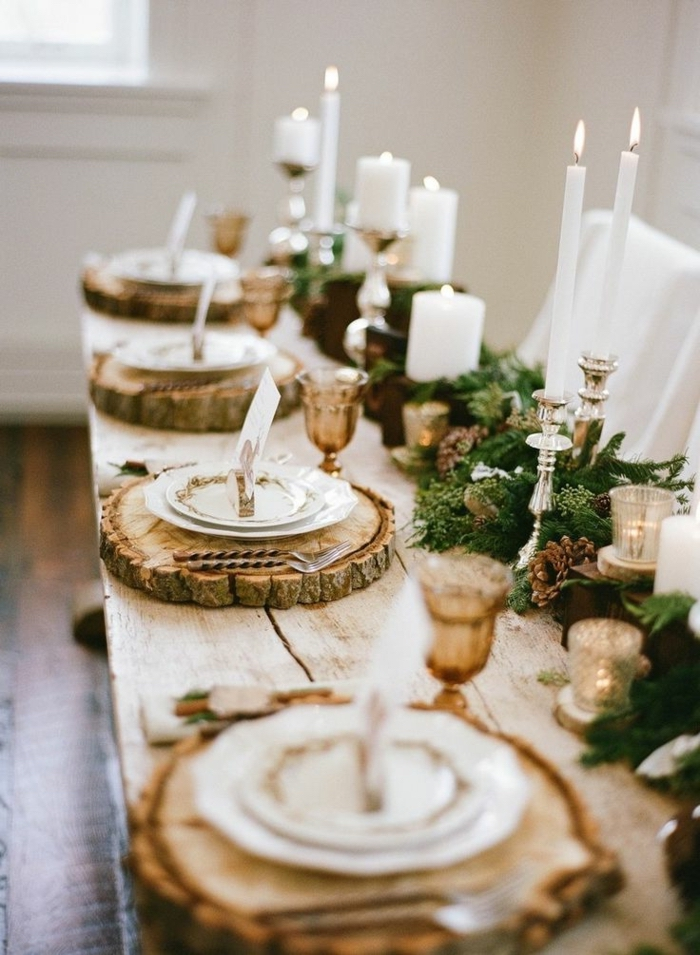 wooden blocks trays, candle holders, dining table decor ideas, pine tree branches, table runner