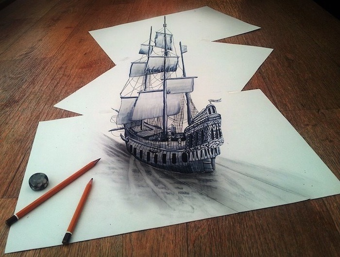 sailing ship, drawn across three papers, 3d art, cool easy drawings, black and white, pencil sketch