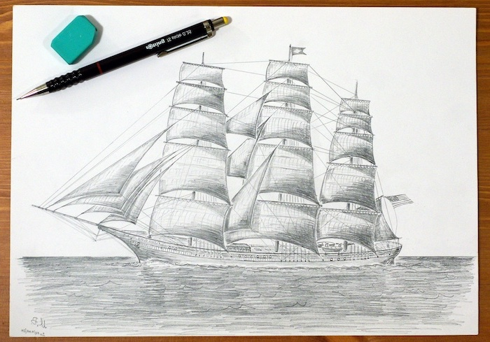 how to draw easy things, sailing ship, black and white, pencil sketch, ruler and a pencil