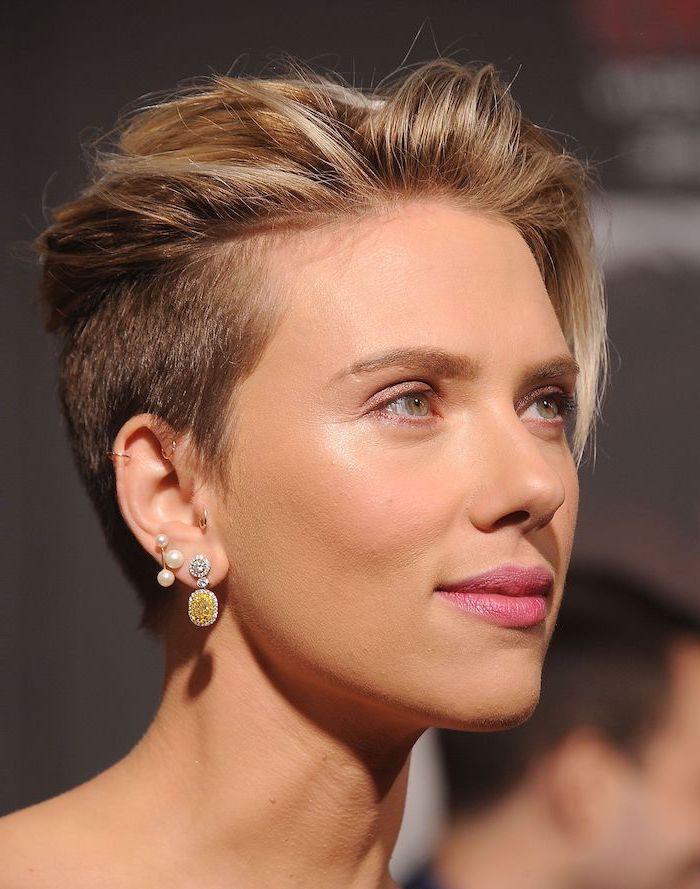scarlett johansson, celebrities with short hair, pearl earrings, gold earrings, blonde hair