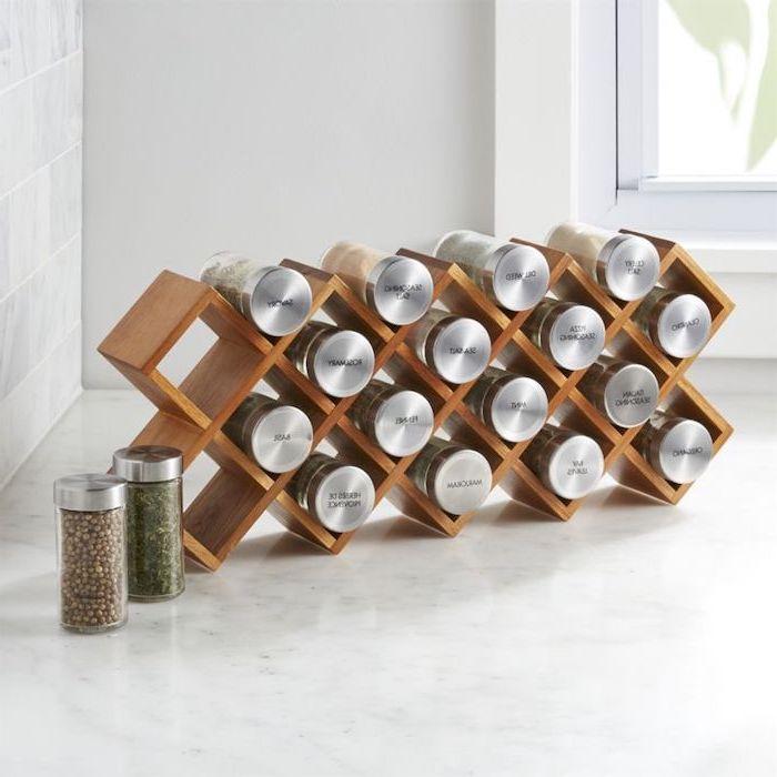 housewarming gift ideas for couple, seasoning holder, wooden rack, glass jars