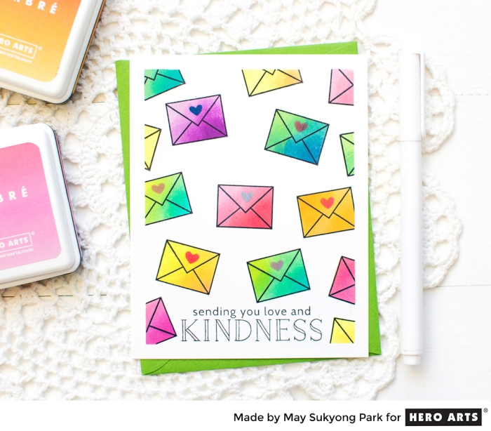 sending you love and kindness, handmade cards, green envelope, colourful envelopes, drawn on it