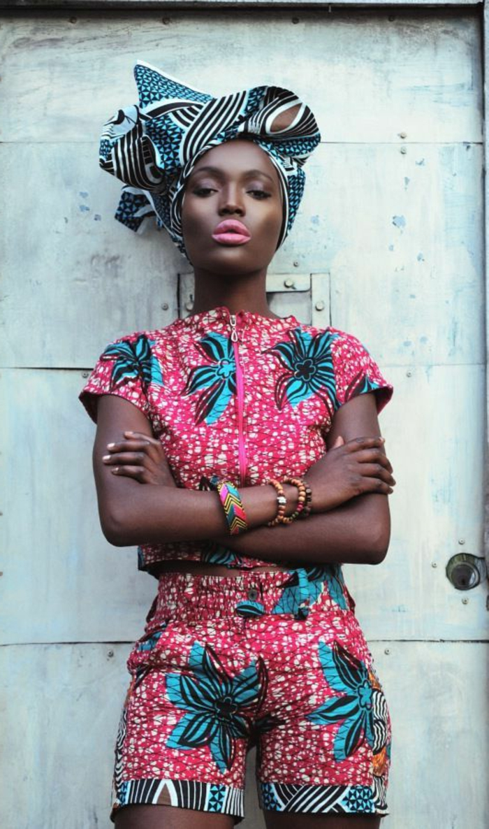 printed scarf, african formal dresses, printed shorts and crop top, white background