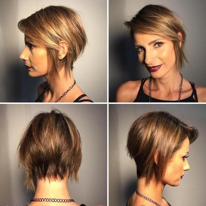 brown hair, blonde highlights, cute short haircuts for girls, side by side photos