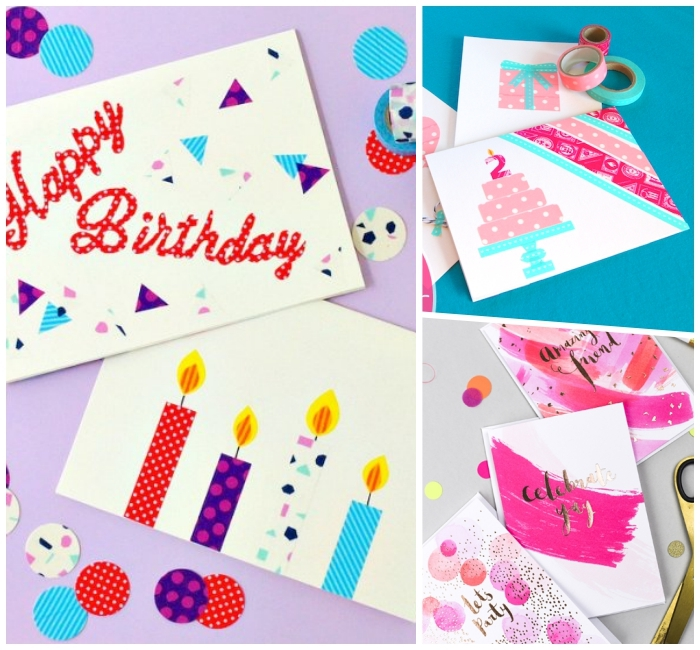 photo collage, side by side photos, birthday cards for best friend, made with washi tape