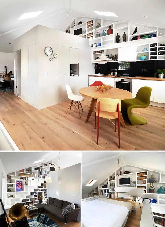 a shaped ceiling, white box, serving as room divider, two level studio apartment, couches for small living rooms