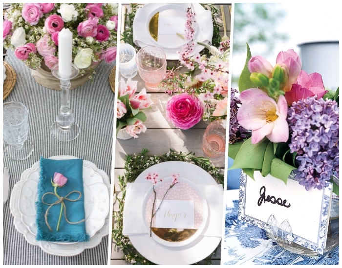 kitchen table centerpieces, photo collage, table settings, table decorations, side by side pictures