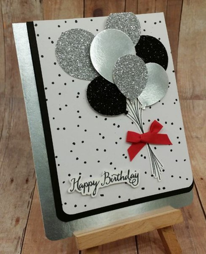 metallic silver, silver and black, glitter balloons, card making ideas, wooden board, small red bow