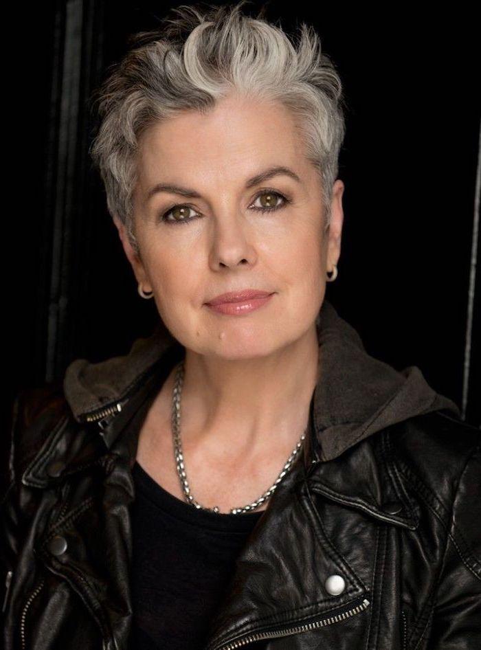 silver grey hair, pixie cut, medium hair cuts for women, black leather jacket