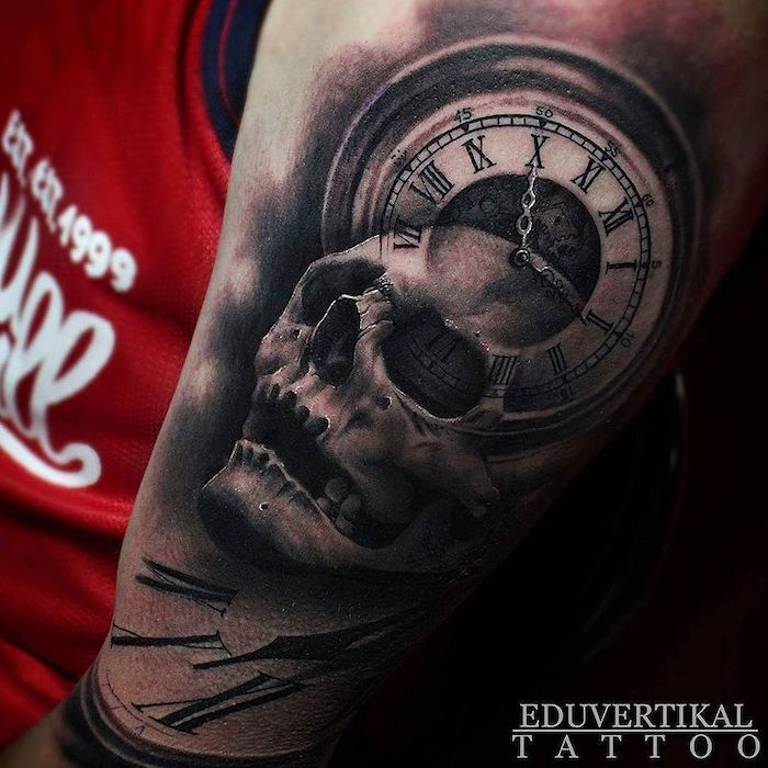skull and a clock, red top, roman numerals tattoo on chest, black background