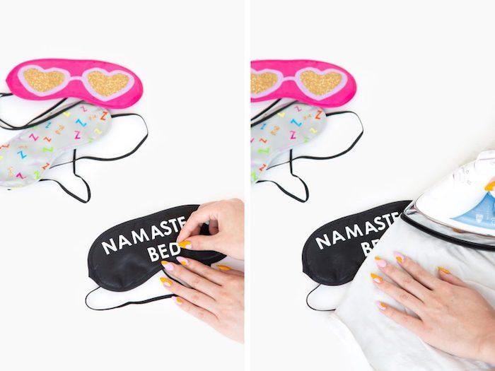 namaste in bed, black sleeping mask, diy tutorial, birthday gift ideas, pink and grey, sleeping masks
