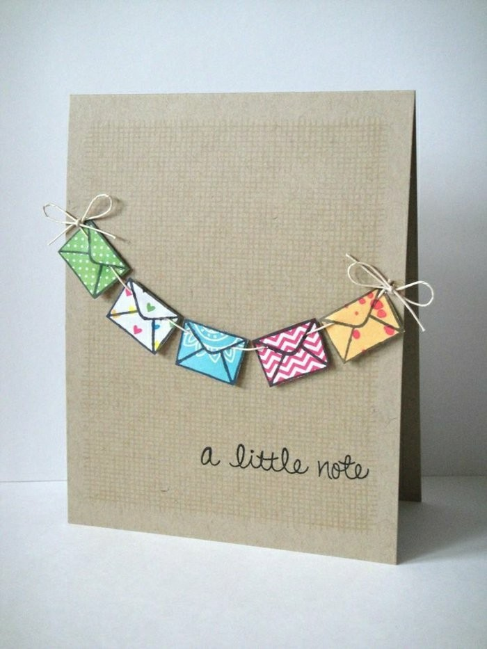 colourful garland, made out of envelopes, a little note, card making ideas, white background