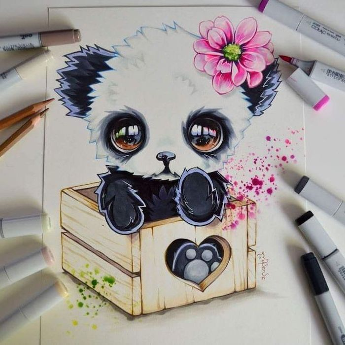 small panda, inside a wooden crate, how to draw easy things, colourful drawing, made with markers, things to draw when bored step by step
