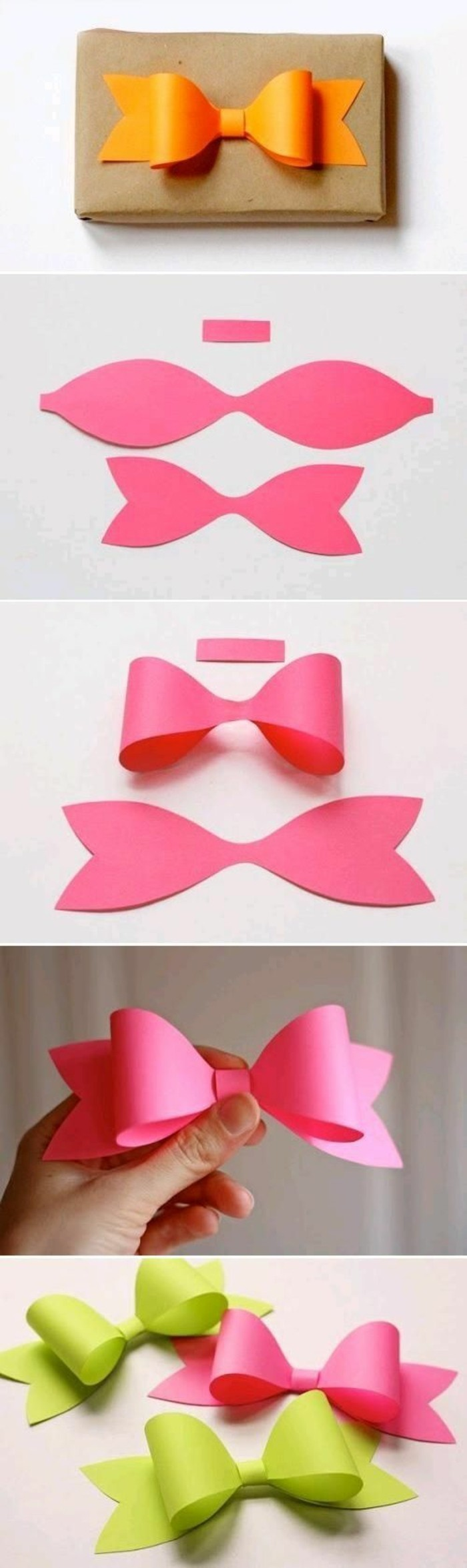 pink orange and green paper bow, step by step, diy tutorial, cute gift ideas for boyfriend, brown wrapping paper