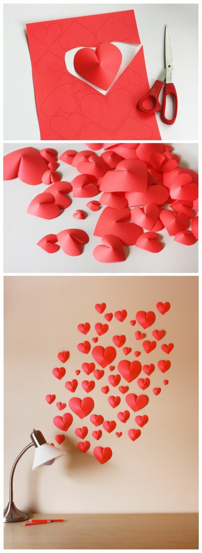 red paper hearts, arranged together on a beige wall, diy living room decor, over a wooden desk
