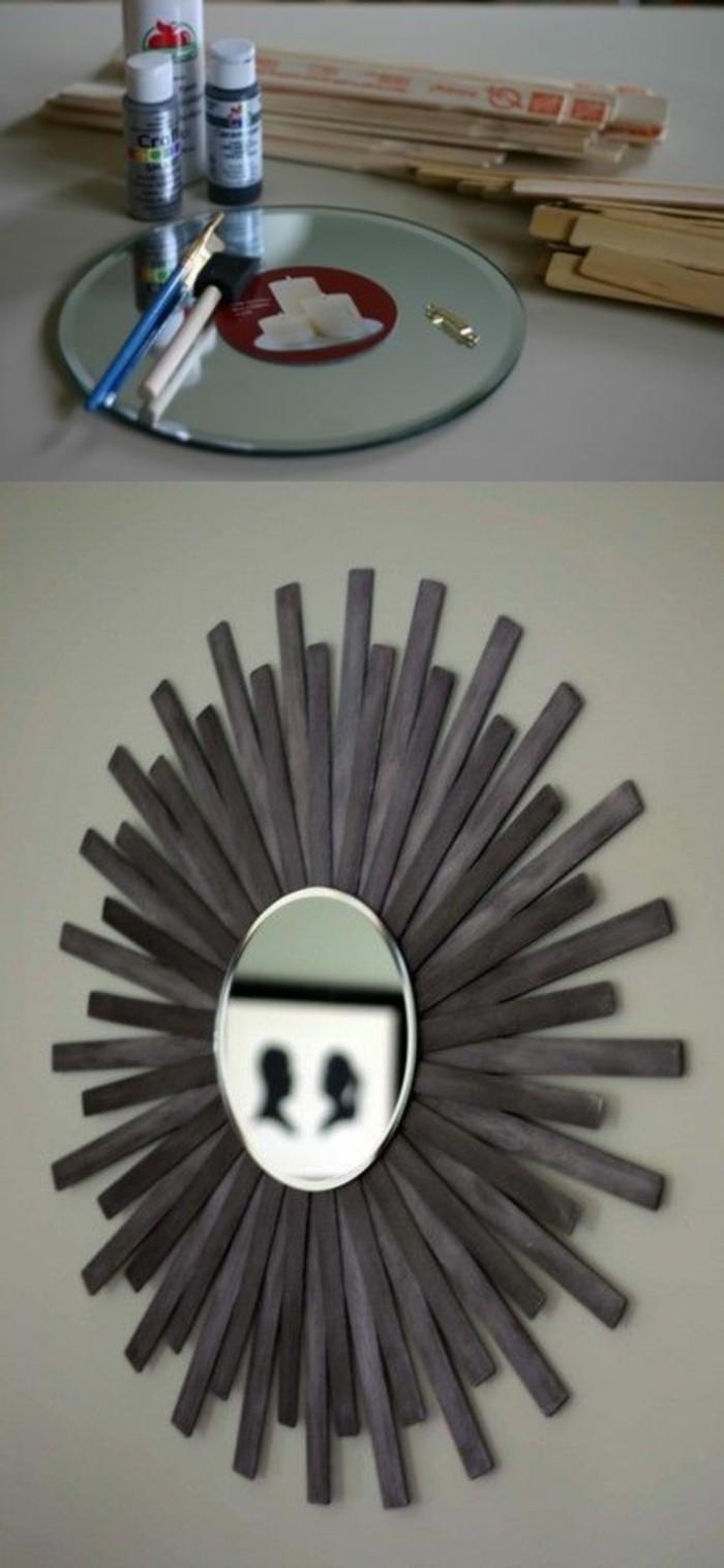 grey wooden sticks, forming a frame, around a mirror, diy living room decor, diy tutorial