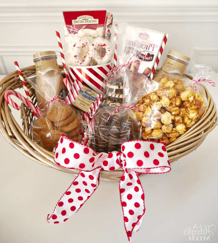 snacks gift basket, wooden basket, funny housewarming gifts, caramel popcorn, pretzels and cookies