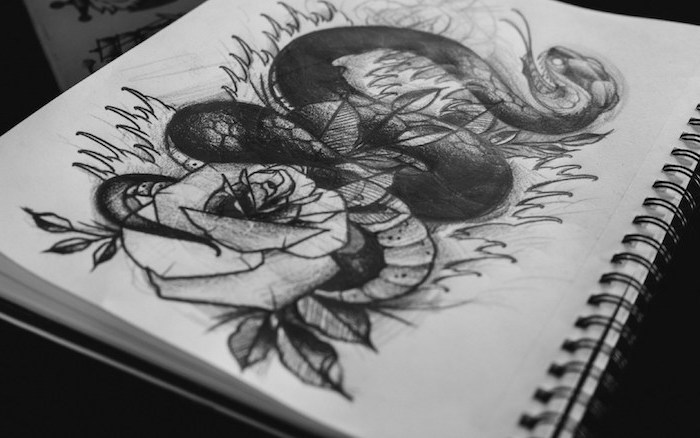snake and a rose, tattoo inspiration, black and white, pencil sketch, how to draw easy things