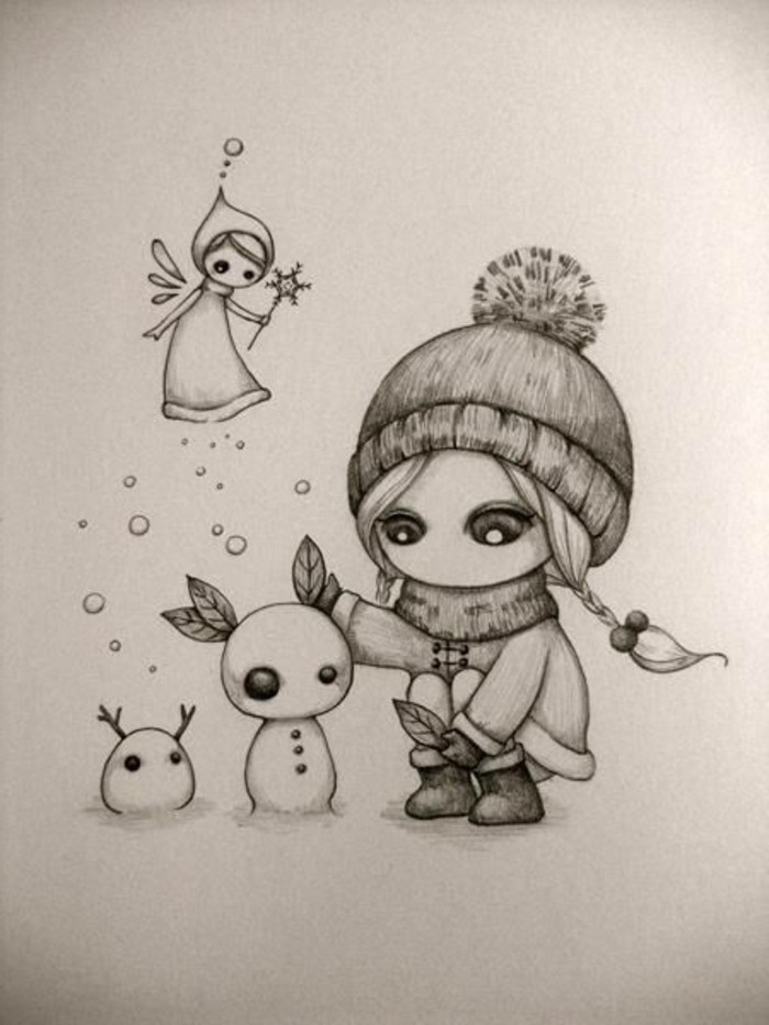 girl building a snowman, black and white, pencil sketch, easy things to draw