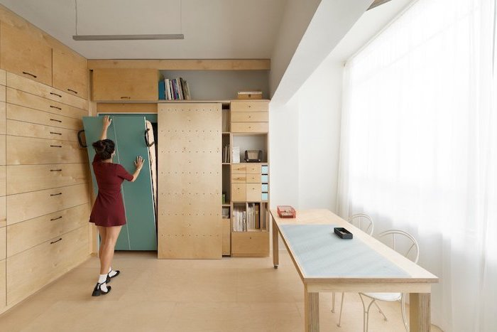 space saving furniture, small apartment living room ideas, pull out bed, wooden shelves and cabinets