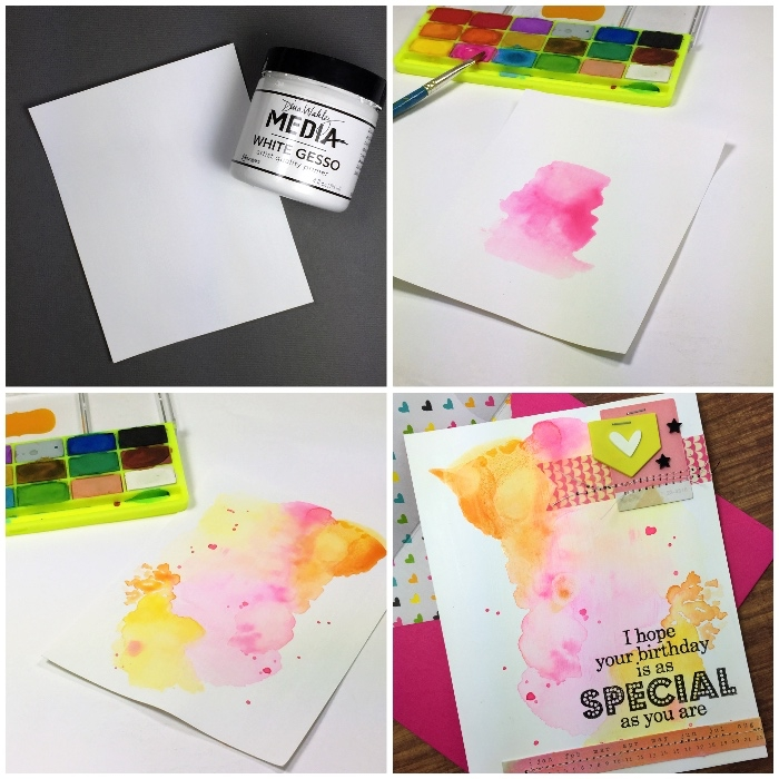 step by step, diy tutorial, watercolour happy birthday card, homemade cards, white card stock