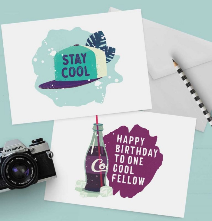 stay cool, happy birthday to one cool fellow, greeting cards, cute birthday cards, blue background