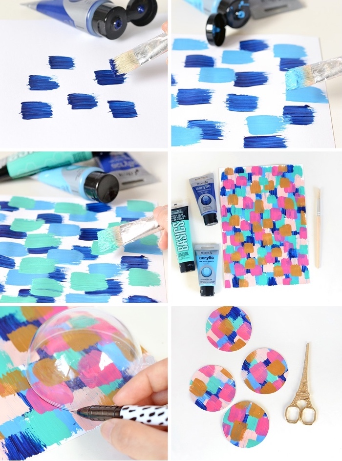 colourful baubles, step by step, diy tutorial, dining table centerpieces, blue and pink, acryllic paint