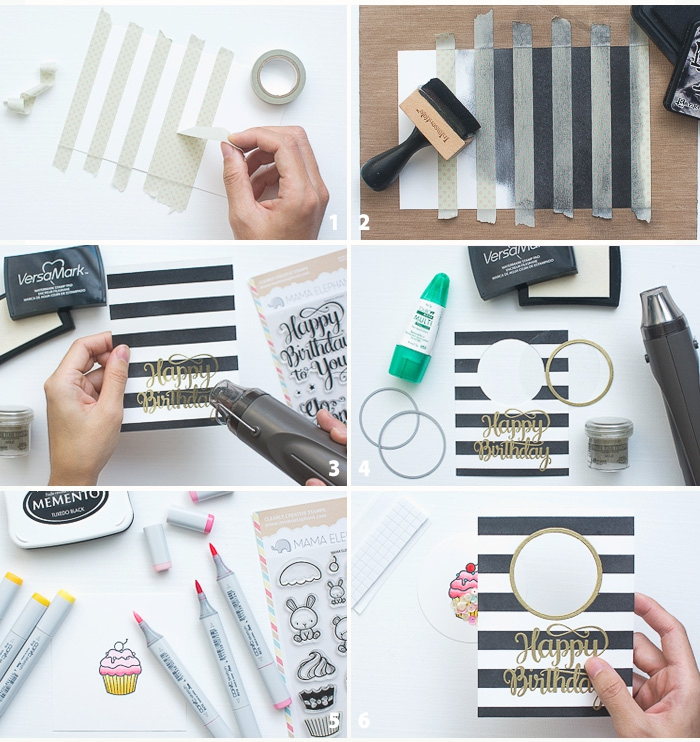 diy pop up cards, step by step, diy tutorial, black and white stripes, gold happy birthday inscription