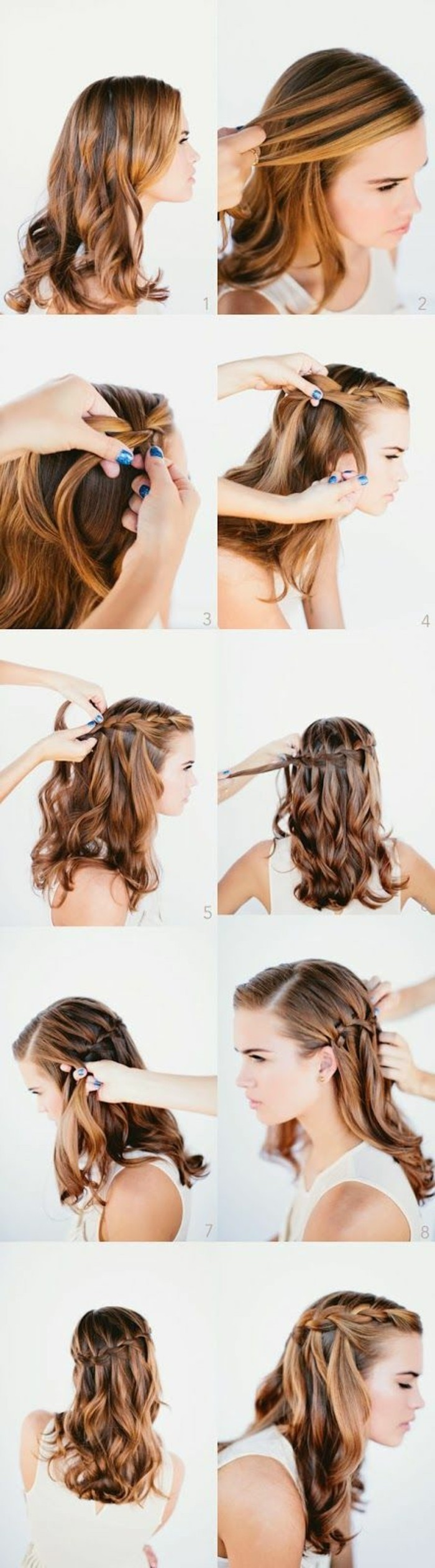 hairstyles for homecoming, brown hair, with highlights, half, up, half down, braid hairstyle, diy tutorial