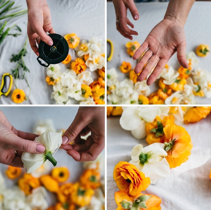 white and orange flowers, table runner, candle decoration, step by step, diy tutorial