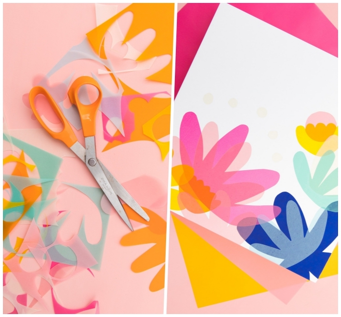 step by step, diy tutorial, wall decor ideas, colourful paper, cut up in different shapes, glued to a white canvas
