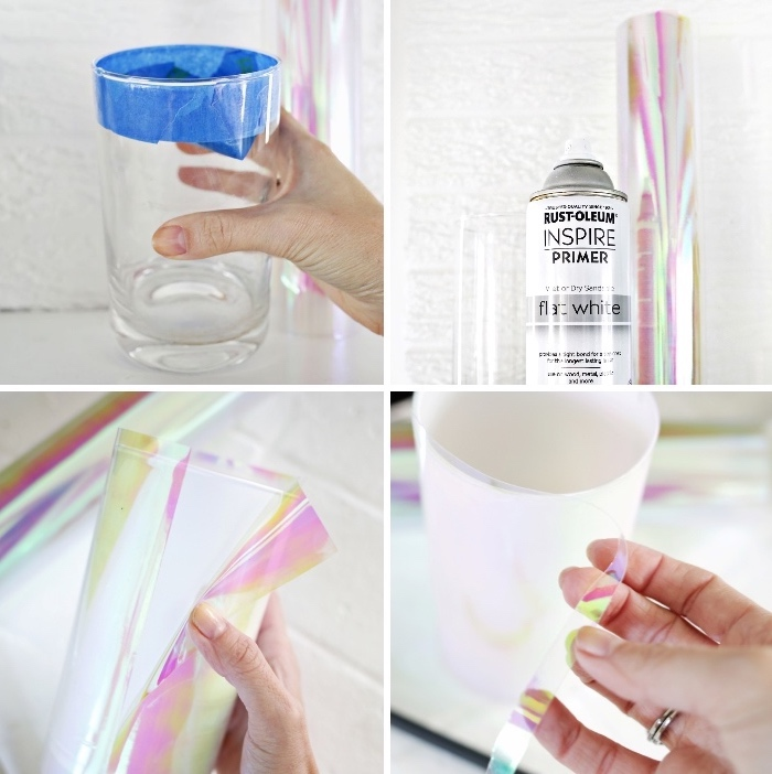 glass vase, covered in monochromatic foil, table setting ideas, step by step, diy tutorial, white background