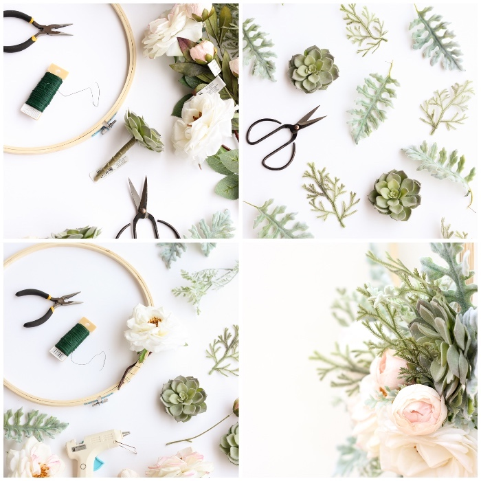 step by step, diy tutorial, bedroom wall decor ideas, greenery and succulents, blush flowers and scissors