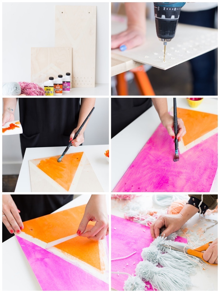 step by step, diy tutorial, large wall decor, pink and orange paint, macrame tassel, wooden boards