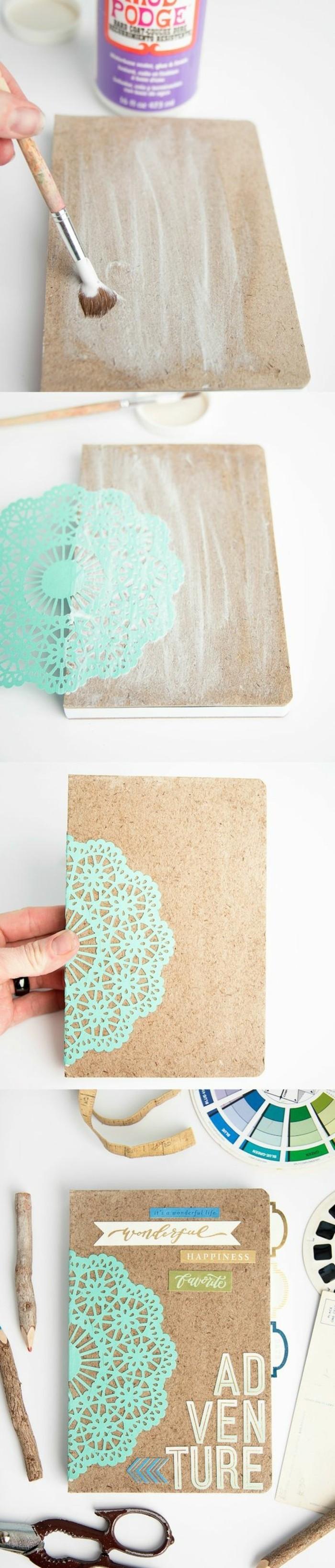 cork board, adventure letters, cute gift ideas for boyfriend, mod podge, green decoration