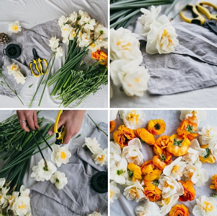 candle decoration, white and orange, table runner, step by step, diy tutorial, grey, cotton cloth