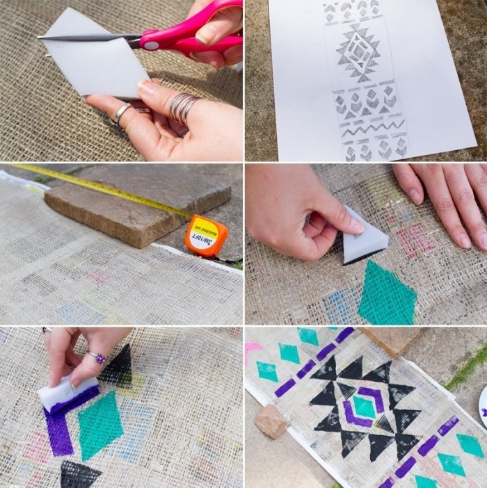 patterned linen, table runner, step by step, diy tutorial, dining table decor, purple and turquoise paint