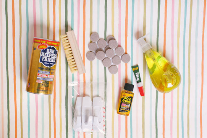 what you need, diy housewarming jar, good housewarming gifts, dish soap, colourful background