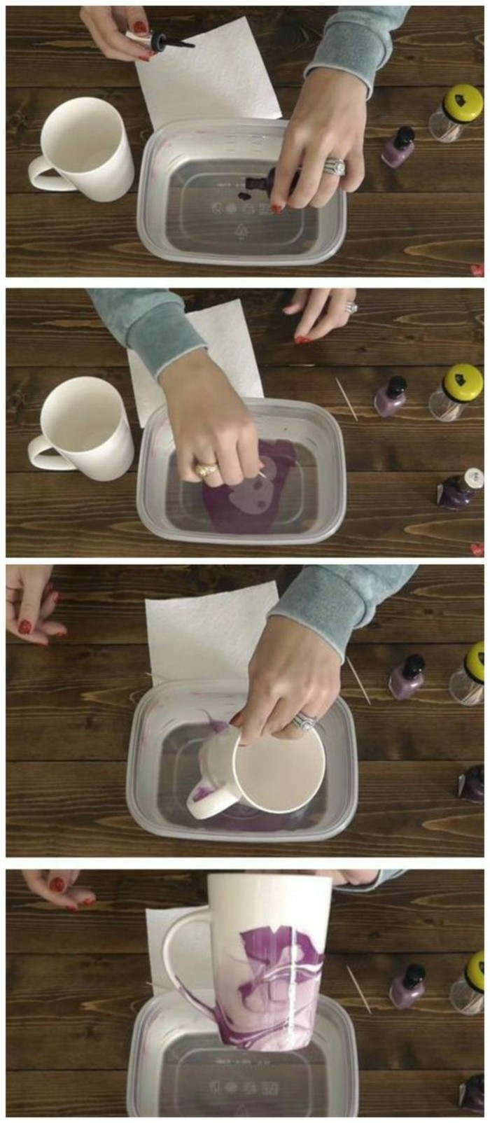 plastic container, purple nail polish, crafty christmas gifts, white coffee mug, diy tutorial, step by step