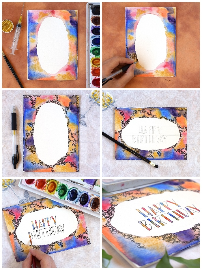 happy birthday, watercolour greeting card, homemade birthday cards, step by step, diy tutorial