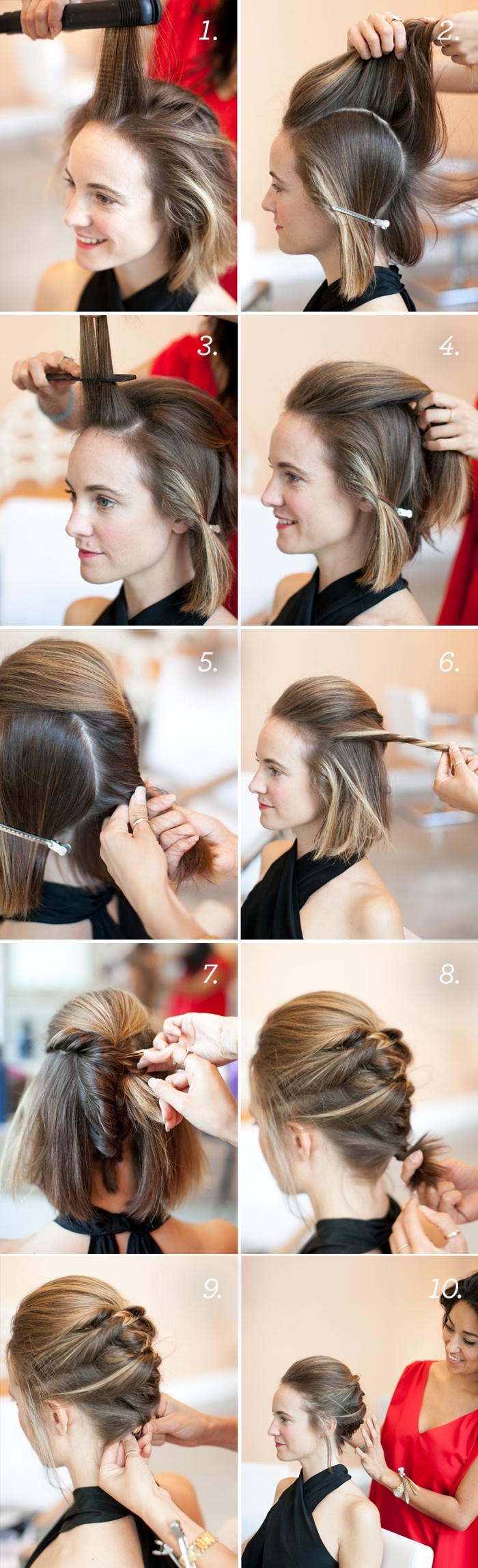 braided low updo, brown hair, with highlights, half up half down prom hair, step by step, diy tutorial