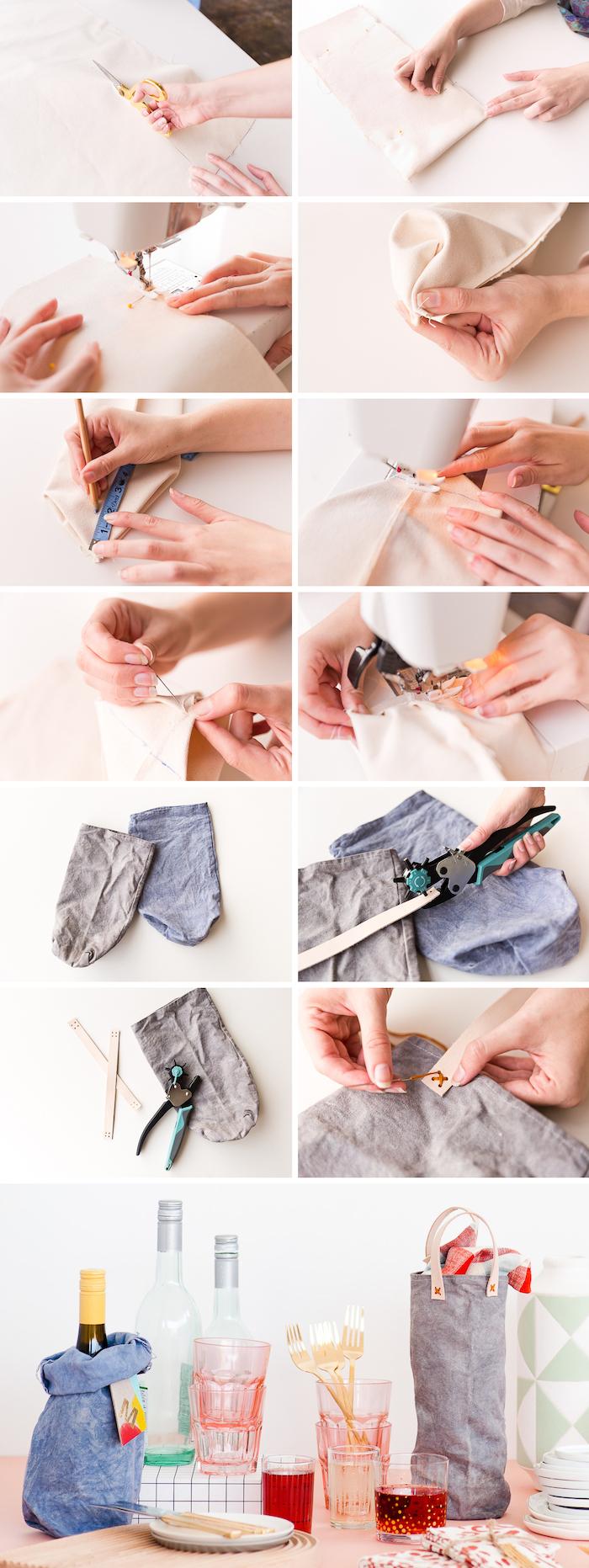 housewarming gifts, step by step, canvas wine bag, diy tutorial