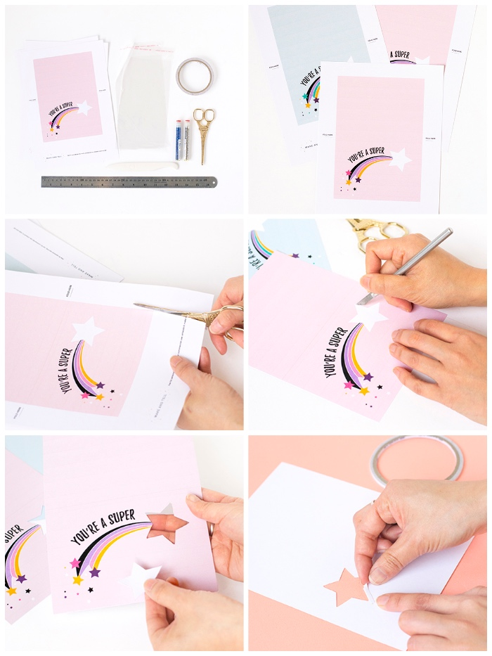 you're a super star, birthday card ideas, step by step, diy tutorial, pink card stock, shooting star