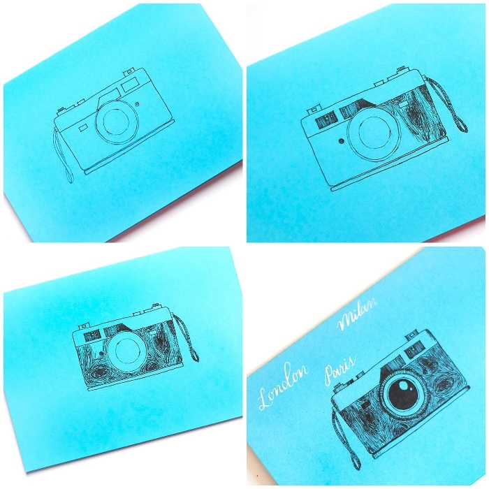blue card stock, vintage camera, drawn on it, cute birthday cards, white background, diy tutorial, step by step