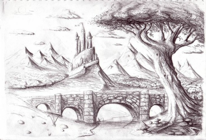 mountain landscape, how to draw a face, rock bridge, castle in the background, black and white, pencil sketch